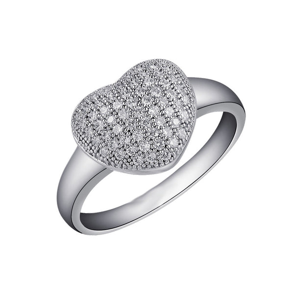 Sterling silver bonded with platinum heart shaped wedding ring. - Zaitano