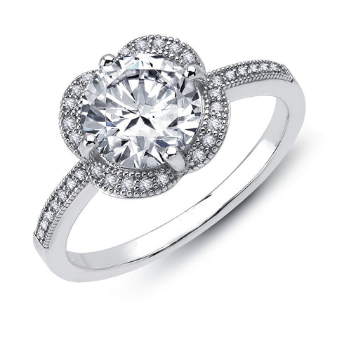 Sterling silver round brilliant wedding ring and simulated diamonds by swarovski. - Zaitano