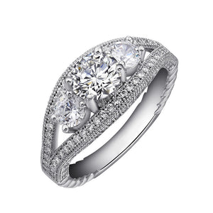 Sterling silver bonded with platinum three stone wedding ring. - Zaitano