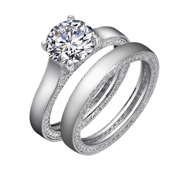 Sterling silver round brilliant cut ring with the matching wedding band. - Zaitano