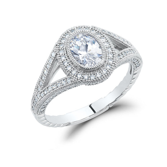 Sterling silver bonded with platinum oval cut pave ring. - Zaitano
