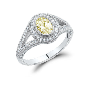Sterling silver bonded with platinum oval lab grown canary stone cut pave ring. - Zaitano