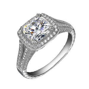 Classic white center cushion cut halo wedding ring - Zaitano - Zaitano