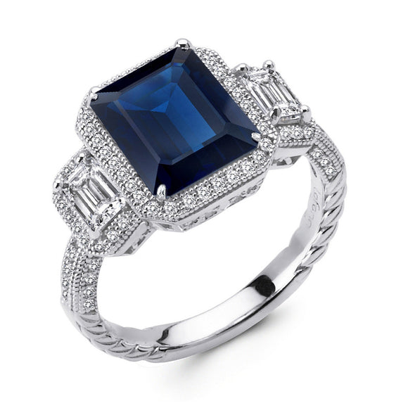 Sterling silver 3 stone emerald cut ring with lab grown sapphire stone. - Zaitano