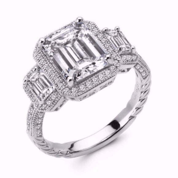 Sterling silver 3 stone emerald cut and pave ring. - Zaitano