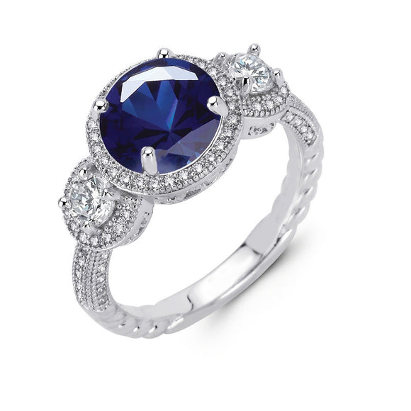 Sterling silver 3 stone round brilliant lab grown sapphire wedding ring. - Zaitano