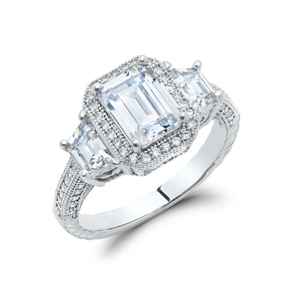 White emerald cut 3 stone wedding ring. - Zaitano