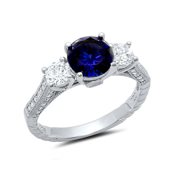 Sterling silver round brilliant 3 stone lab grown sapphire wedding ring. - Zaitano
