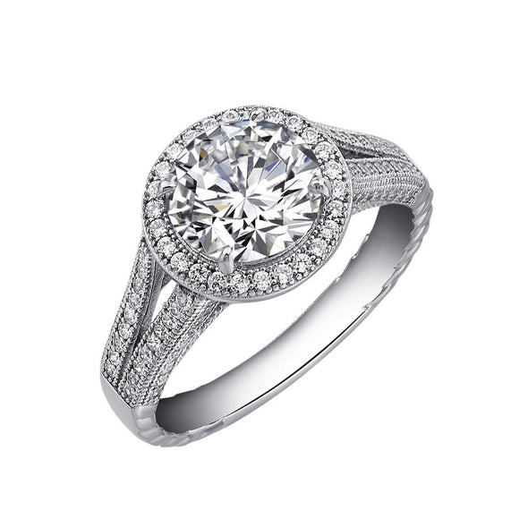 Sterling silver bonded with platinum wedding ring and simulated diamonds by swarovski. - Zaitano
