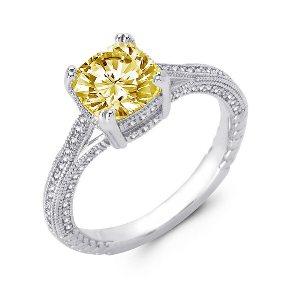 Sterling silver bonded with platinum cushion cut lab grown canary wedding ring. - Zaitano