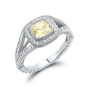 Square cushion cut lab grown canary stone pave ring. - Zaitano