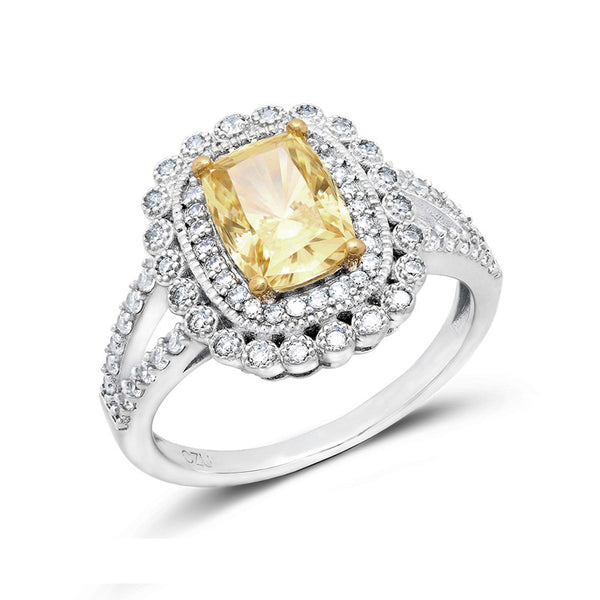 Unique style cushion cut canary stone halo pave ring. - Zaitano