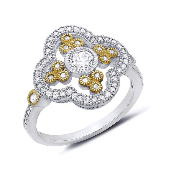 Two tone ring with gold plated circles. - Zaitano
