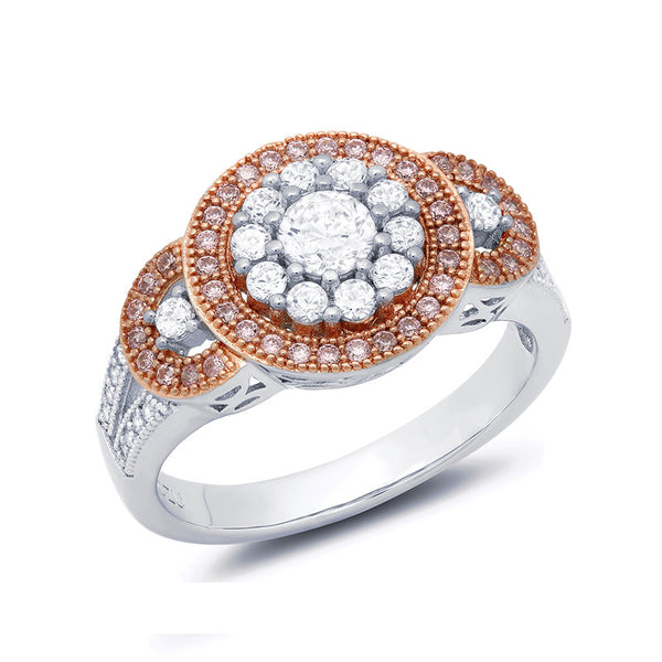Sterling silver bonded with platinum round brilliant rose gold 3 stone pave ring. - Zaitano