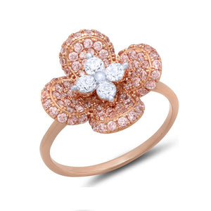 Sterling silver rose gold fashion pave ring and simulated diamonds by swarovski. - Zaitano