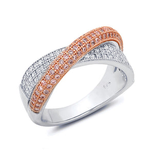 Sterling silver bonded with platinum and rose gold plated fashion pave ring. - Zaitano