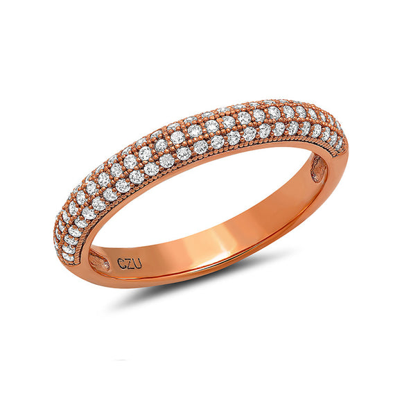 Sterling silver bonded with platinum rose gold plated band pave wedding ring. - Zaitano