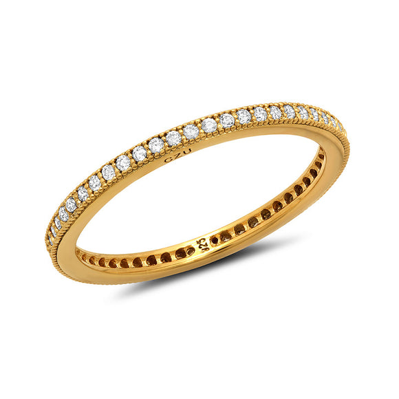 Sterling silver bonded with platinum gold plated band pave wedding ring. - Zaitano