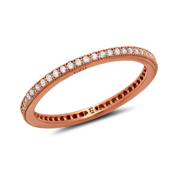 Sterling silver bonded with platinum rose gold plating band pave wedding ring. - Zaitano