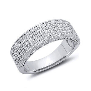 Sterling Silver Bonded With Platinum Thick Band Pave Wedding Ring