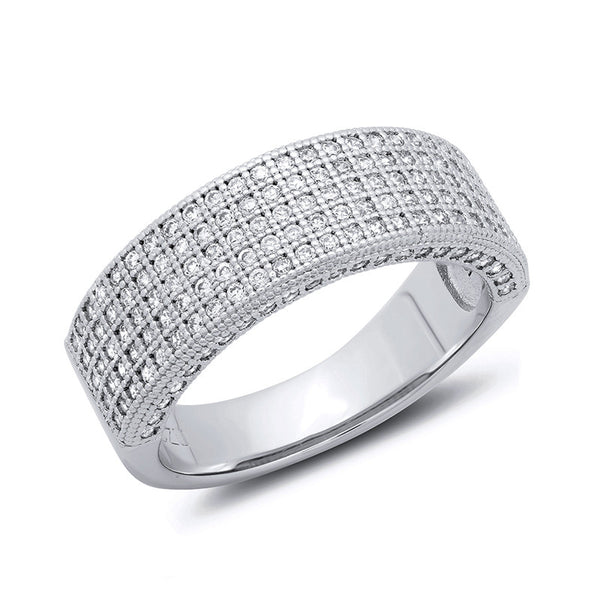 Sterling silver bonded with platinum thick band pave wedding ring. - Zaitano