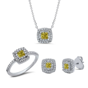Sterling Silver three set invisible center canary stone. - Zaitano