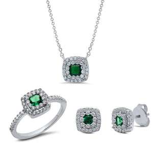 Sterling silver three set invisible center emerald color stones. - Zaitano