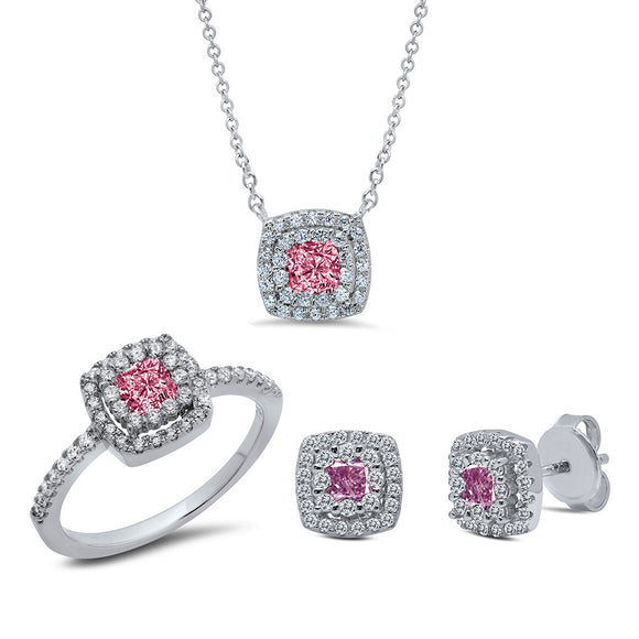 Sterling silver three set pink color platinum simulated diamonds by swarovski. - Zaitano