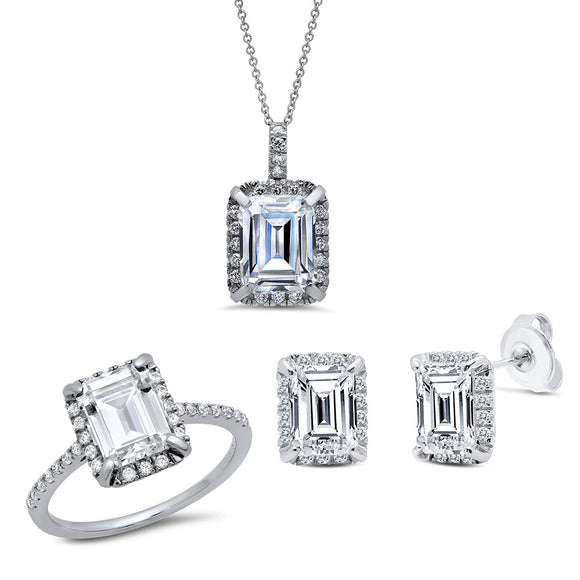 Sterling silver bonded with platinum with simulated diamonds by swarovski emerald stone set. - Zaitano