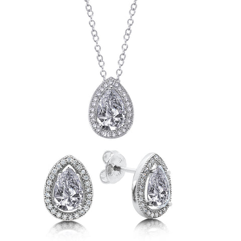 Sterling silver with simulated diamonds by swarovski two set pear shaped stone. - Zaitano