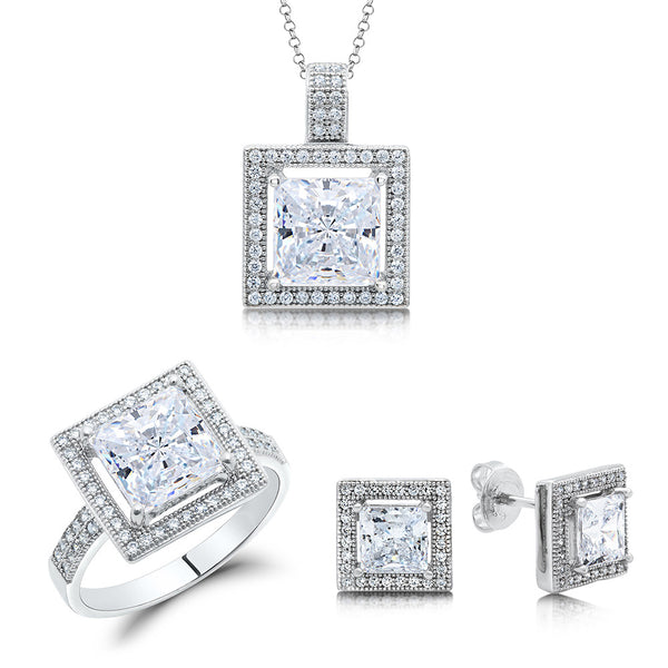 Sterling silver bonded with platinum with simulated diamonds by swarovski princess cut set. - Zaitano