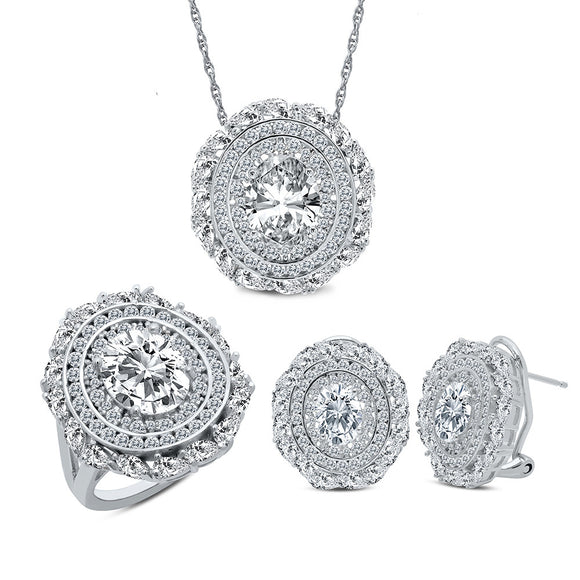 Sterling Silver Bonded with platinum simulated diamonds by swarovski set. - Zaitano