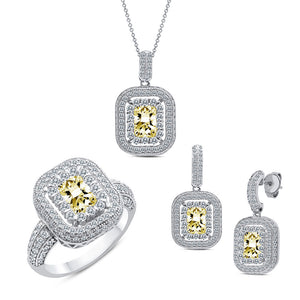 Sterling silver bonded with platinum lab created canary stone diamond set. - Zaitano