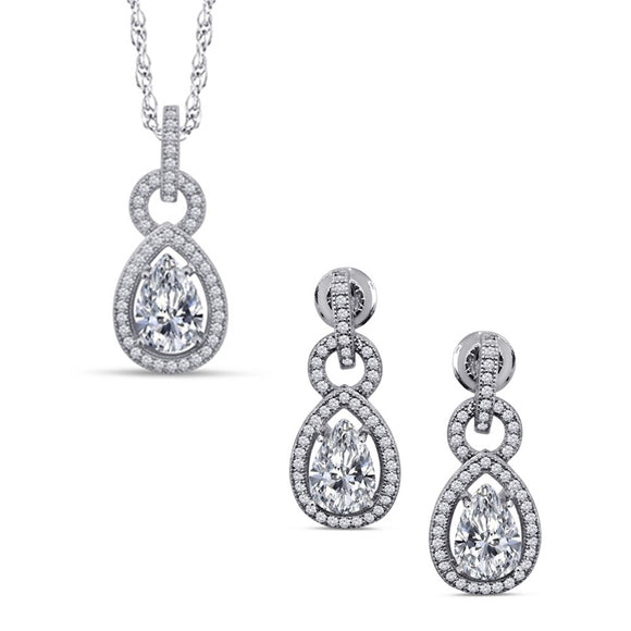 Pear shape jewelry set of earring and pendant. - Zaitano