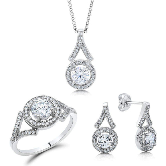 3 pcs jewelry set with earring, ring and pendant - Zaitano - Zaitano