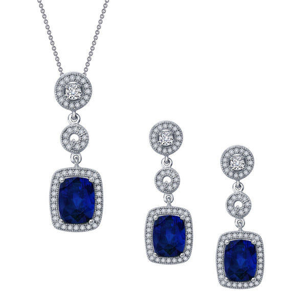 Sterling silver bonded with platinum sapphire color fashion set. - Zaitano