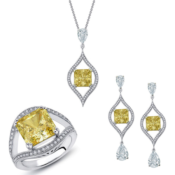Canary beauty jewelry set with earring, ring and pendant. - Zaitano