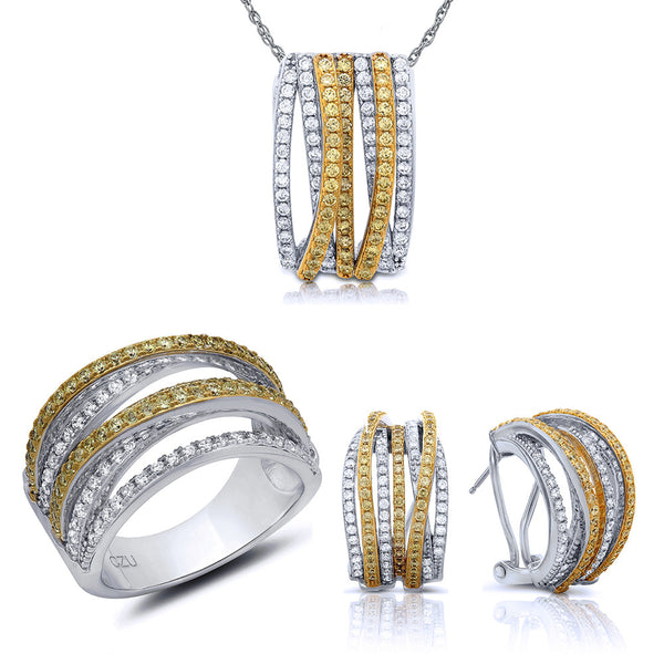 Two tone jewelry set of earring, ring and pendant. - Zaitano