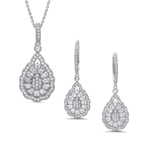 Drop shape pendant and earring set. - Zaitano