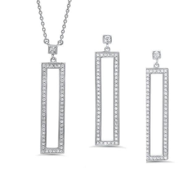 Simplicity jewelry set of earring and pendant. - Zaitano