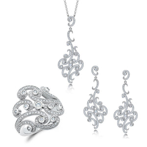Art tangled jewelry set of earring and pendant - Zaitano - Zaitano