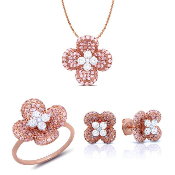 Flower of eden in rose gold jewelry set. - Zaitano