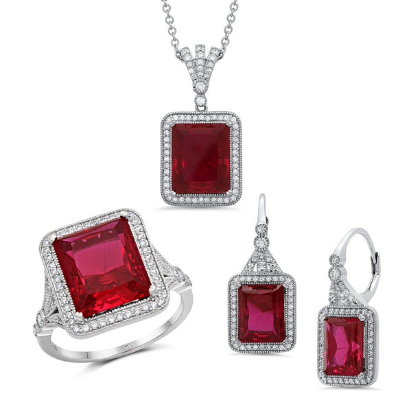 Sterling silver fashion set with lab created rubies. - Zaitano