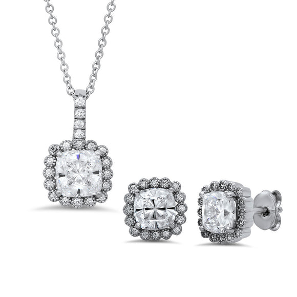 Sterling silver bonded with platinum with simulated diamonds by swarovski fashion set. - Zaitano