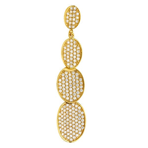 Sterling silver oval pendant and simulated diamonds by swarovski. - Zaitano