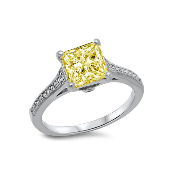 STERLING SILVER BONDED WITH PLATINUM YELLOW PRINCESS CUT RING. - Zaitano