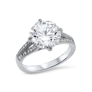 Zaitano white center engagement ring in sterling silver. - zaitano