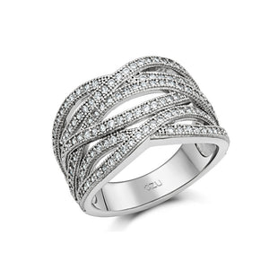 STERLING SILVER BONDED WITH PLATINUM PAVE FASHION RING AND SIMULATED DIAMONDS BY SWAROVSKI. - Zaitano