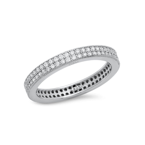 STERLING SILVER RING BONDED WITH PLATINUM PAVE BAND AND SIMULATED DIAMONDS BY SWAROVSKI. - Zaitano