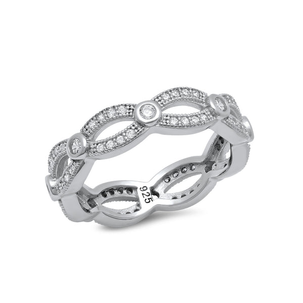 STERLING SILVER BONDED WITH PLATINUM PAVE BAND AND SIMULATED DIAMONDS BY SWAROVSKI. - Zaitano